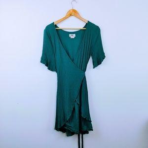 O'Neill   Deep Green Faux Wrap Short Sleeve Dress
